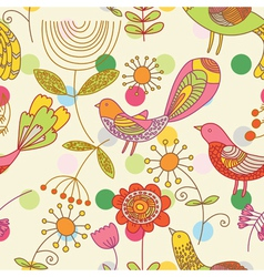 Birds and floral background vector