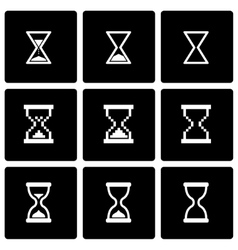 black hourglass icon set vector image vector image