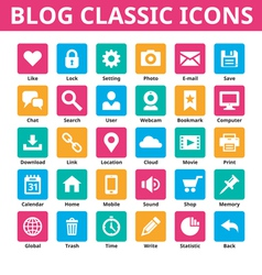 Blog classic icons set vector image