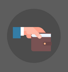 business man hand holding wallet icon savings and vector image