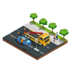 Car Accident Isometric Composition vector image vector image