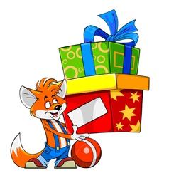 Cartoon fox holding a gift box vector image vector image