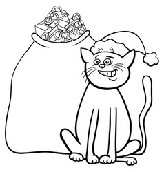 Cat with christmas gifts coloring book vector