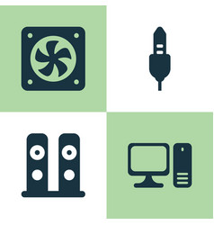 computer icons set collection of computer vector image vector image