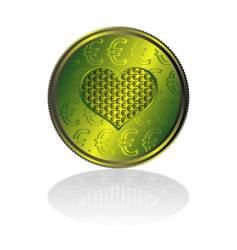 Concentration of euro in heart vector
