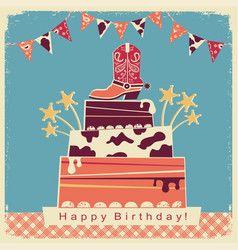 Cowboy party card with big cake and cowboy shoe vector