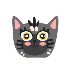 cute grey kitten head funny cartoon cat character vector image vector image