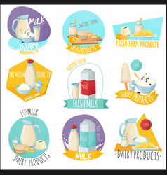 Dairy products set of logos vector