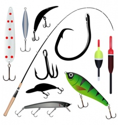 Fishing rod hook vector