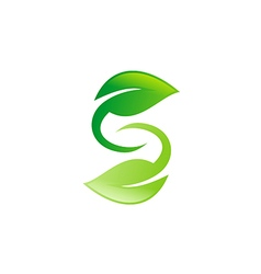 Green leaf circle letter s logo vector