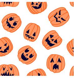 halloween scary pumpkin pattern 6 vector image