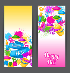 Happy holi colorful banners of vector