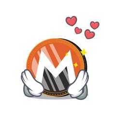 In love monero coin character cartoon vector