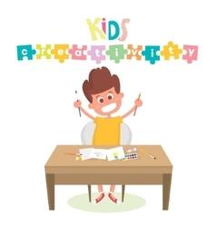 Kids Art-working process Kids creativity vector image