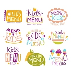 Kids organic food hand drawn banner set vector