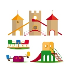 Kids swing slides and castle vector