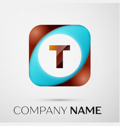 letter t logo symbol in the colorful square on vector image vector image