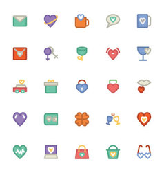 Love and romance colored icons 7 vector