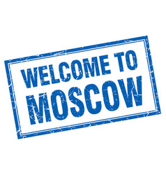 Moscow blue square grunge welcome isolated stamp vector