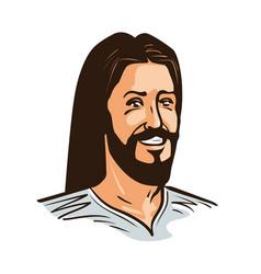 portrait of happy jesus christ cartoon vector image