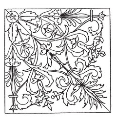 Renaissance square panel designed by wood carver vector