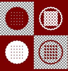 Round biscuit sign bordo and white icons vector
