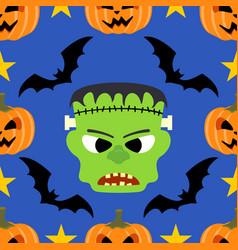 seamless halloween background with frankenstein vector image vector image