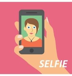 Selfie on smartphone vector image vector image