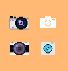 set of camera flat icons vector image vector image