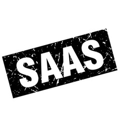 square grunge black saas stamp vector image vector image
