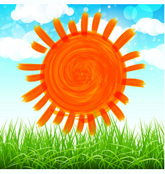 Summer background with sun grass flower and vector
