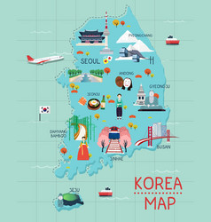 Traveling to korea by landmrks icon map vector