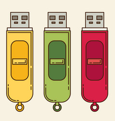 Usb flash drive flat icon set vector