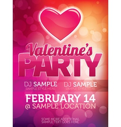 Valentines Day Party Poster vector image