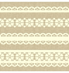 Vintage straight lace on linen canvas background vector image vector image