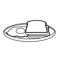 Silhouette monochrome of dish slices bread and egg vector