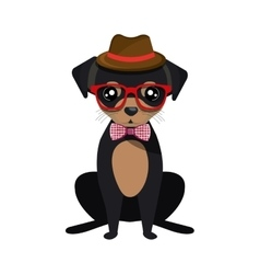 Cute dog hipster style vector