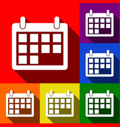 Calendar sign   set of icons vector