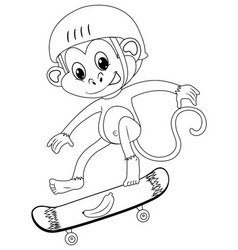 animal outline for monkey on skateboard vector image