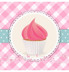 Cupcake with pink icing on pink gingham background vector