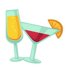 Champagne and martini glasses with drinks isolated vector