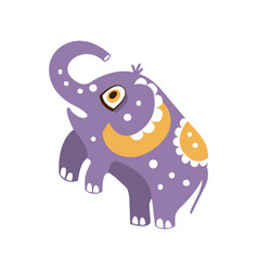 Cute cartoon elephant character standing on hind vector