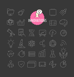 Different innovation icons collection web and vector