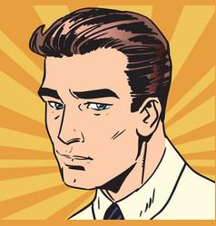 avatar portrait sad man vector image