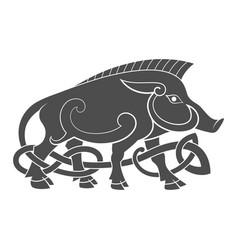 Ancient celtic mythological symbol of boar vector