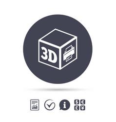 3d print sign icon 3d cube printing symbol vector