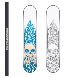 Snowboard design one vector