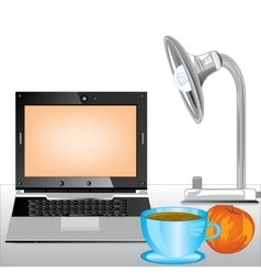 Computer and cup coffee on table vector