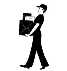 Man in uniform carries cardboard boxes vector