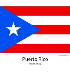 National flag of Puerto Rico with correct vector image